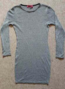 Ladies Boohoo Dress Grey Ribbed Bodycon Long Sleeved UK Women's Size 12