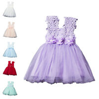 Toddlers Baby Girls Lace Flower Kids Pageant Party Princess Tulle Tutu Dresses