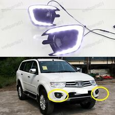 2X White LED DRL Running Lights Fog Lamps For Mitsubishi Pajero Sport 2013-2015