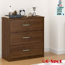 Bedroom Dresser Chest 3 Easy Glide Drawers Furniture Clothes Storage Wood Brown