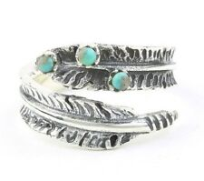Sterling Silver Feather Turquoise Ring, Boho, Bohemian, Gypsy, Festival Jewelry