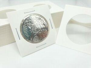 "50pcs CARDBOARD 2""x 2"" COIN HOLDERS 35mm SUIT 50c, 20c"