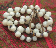 """New listing 26"""" Old Himalayan Tibetan Nepal White Onyx Bead Necklace 9-13mm"""