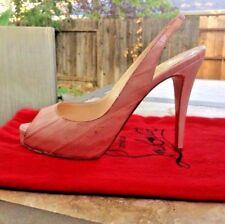 Christian Louboutin Rose/Pink Eel Skin No Prive 120 Heels-38.5