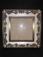 """""""Vintage Love"""" LENOX Ornate Tabletop Metal 5""""x5"""" Picture Frame Brass and Silk"""