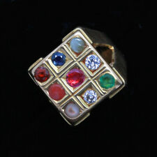 Vintage Navaratna Mans Ring 20k Gold 9 Gems c1940 India Diamond Ruby Amulet(6811