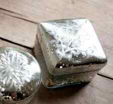 Square Silver Mercury Glass Trinket / Jewellery Pot, Shabby Chic, Sofia Nkuku