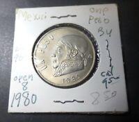 Mexico Coin: Perfect 1980 Mexico Un Peso (1 Dollar) Open 8 Error Coin -Beautiful