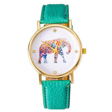 Women Leather Strap Quartz Wrist Watch Round National Wind Elephant Casual Gift