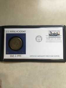 1995 US Naval Academy Coin and First Day Issue Stamp Cover COA