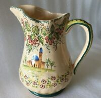 """VTG Tuscan Style Pitcher Jug 7 3/8"""" Tall HAND PAINTED Floral Villa Italy Ceramic"""