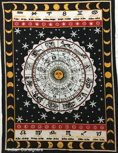 Zodiac Sun Sign Small Tapestry Beautiful Poster Wall Hanging Cotton Fabric Art