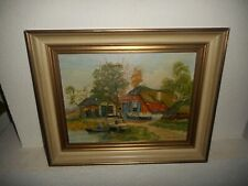 Old oil painting,{ Farm landscape with a man and boot, is signed }.