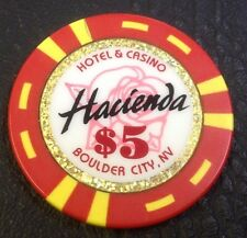 HACIENDA $5 CASINO CHIP BOULDER CITY NEVADA BJONES MOLD 1999 FREE SHIPPING