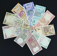 INDIA 10 PCS BANKNOTES SET (1+2+5+10+20+50+100+200+500+1000/-), RANDOM YEAR, UNC