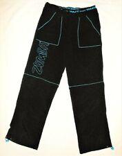 Zumba Womens Pants Convertible S 4 6 Black Blue Zip Off Athletic Nylon Shorts