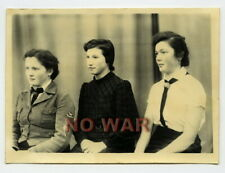 Wwii Original German Photo Girls From Bdm In Uniform W Triangle Arm Patches