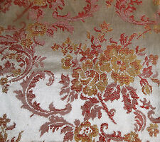 Vintage Mid Century Roses Scroll Satin Brocade Fabric ~ Gold Tangerine Pink Red