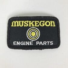 Vintage Muskegon Engine Parts Patch Black White Yellow Rectangular Embroidered