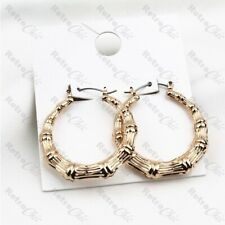 "1.25"" SMALL ROUND 34mm BAMBOO HOOPS retro creoles HOOP EARRINGS gold tone metal"