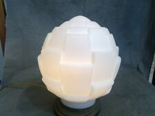 White Embossed Deco Pattern Satin Opal Embossed Shade Globe for Pendant Fixture