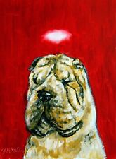 shar pei angel dog  art print 11x17 artist animals impressionism