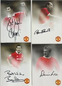 Official Manchester United Signed Club Cards Denis Law, Bobby Charlton, Irwin