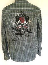 Pepe Jeans Olive Green Plaid Cotton Snap Front $72 Shirt Sz S Sm