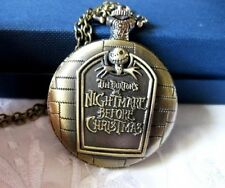 NEW Tim Burtons Nightmare Before Christmas Jack Skull Necklace Pocket Watch gift