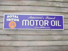 "ROYAL TRITON/""76"" UNION OIL 1940's-50's STYLE 1'X4' METAL DEALER SIGN-GARAGE ART"