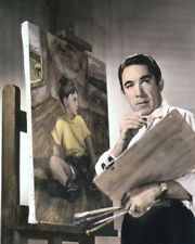 "ANTHONY QUINN MEXICAN AMERICAN ACTOR MOVIE STAR 8x10"" HAND COLOR TINTED PHOTO"