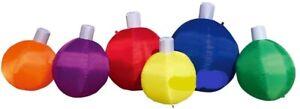 CHRISTMAS SANTA 8 FT ROW OF SIX ORNAMENTS  INFLATABLE AIRBLOWN DECOR