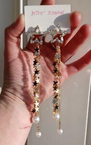 Betsey Johnson Long Tassel Star & Pearl Dangle Earrings ***FAST U.S SHIPPING!!!