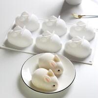 6 Holes Silicone Mold 3D Rabbit Shape Cake Mold Mousse Dessert Molds For Baking