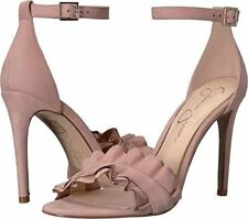Jessica Simpson Silea 7.5 Nude Blush Rose Pink Party Dress Sandals Suede Ruffle