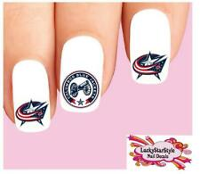 Waterslide Nail Decals Set of 20 - NHL Hockey Columbus Blue Jackets Assorted