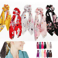 Hot Bow Satin Long Ribbon Ponytail Scarf Hair Ties Scrunchies Elastic Hair Rope