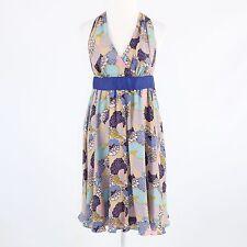 Blue beige floral print 100% silk BETSEY JOHNSON sleeveless empire waist dress 6