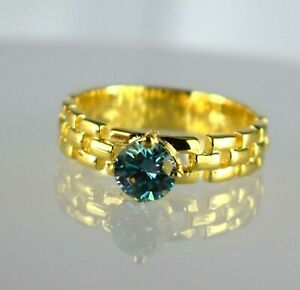 2.37 Ct Blue Diamond Solitaire Gold Finish Certified Unisex Ring Free Delivery