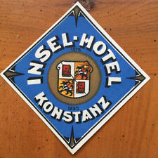 Hotel Luggage Label  |Insel Hotel Kontanz Germany |  MINT