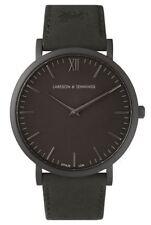 LARSSON & JENNINGS NEW LUGANO BLACK 40MM WATCH LEATHER STRAP UNISEX BNWT $360