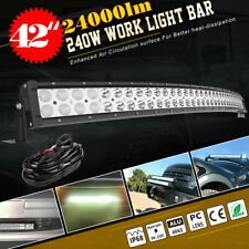 Curved 42inch 240W LED Light Bar Flood Spot Roof Driving Truck RZR SUV 4WD 44''