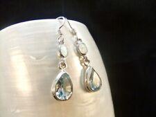 White Opal & Blue Topaz Gemstone Sterling Silver Earrings
