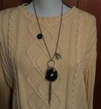 "Black Rose Flower Crossbones Crystal Ball Long Pendant 19"" Necklace Chain Women"