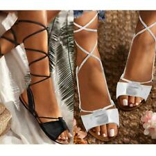 Womens Ladies Tie Up Gladiator Flat Sandals Strappy Summer Metallic Shoes Size