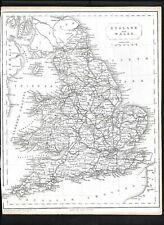 England & Wales Antique Map Becker Virtue c1840