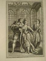 Curiosa rare gravure XVIIIème Charles EISEN J. de la Fontaine Joseph de Longueil