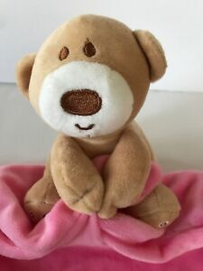 NWT MagiDeal Plush Bear Hot Pink Velour Security Blanket Lovey Green Heart