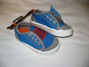 Garanimals Toddler Boy's Slip On Casual Shoes Size 3 Blue Gray & Orange NEW
