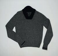 Men's Hackett Shawl Collar Grey Fleck Jumper Merino Wool Cashmere Size S